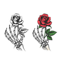 rose flower in human skeleton hand vector image