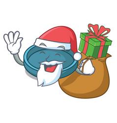 Santa with gift ashtray mascot cartoon style vector