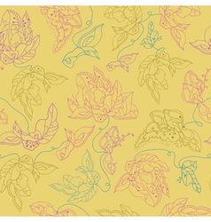 seamless pattern with abstract flowers Yellow vector image