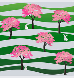 seamless pattern with rabbits in the sakura park vector image