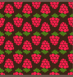 seamless raspberry background brown pattern vector image