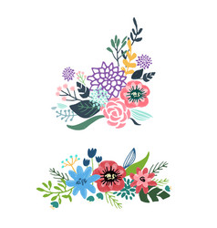 set floral bouquet isolated on white background vector image
