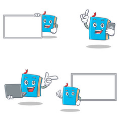 Set of blue book character with laptop phone board vector