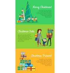 Set of christmas flat design web banners vector