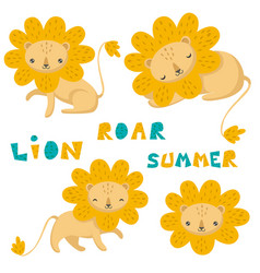 set of hand drawn cute lion and lettering vector image