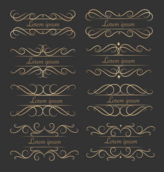 set of luxurious decorative calligraphic elements vector image