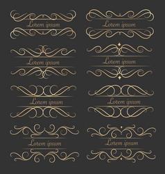 set of luxurious decorative calligraphic elements vector image