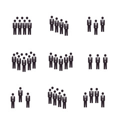 set people meeting crowd in flat style vector image