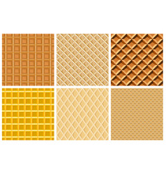 Set seamless pattern with waffle texture vector