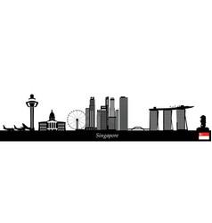 singapore city skyine text flag vector image