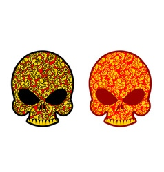 Skull in Khokhloma style Head skeleton texture vector