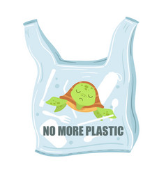 stop plastic pollution plastic bags with turtle vector image