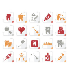 stylized dental medicine and tools icons vector image