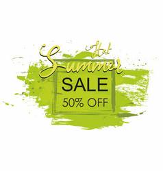 Summer sale poster grunge brush green paint vector