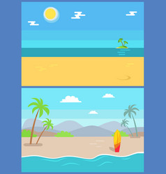 summertime paradise set sandy beaches vector image