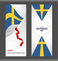 Sweden happy independence day confetti vector