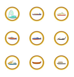 Tanker icons set cartoon style vector