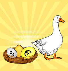the white goose bears currency eggs dollar euro vector image