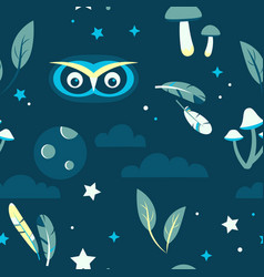 tiling pattern with night forest scene vector image