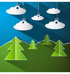 Trees clouds and blue sky made from pape vector