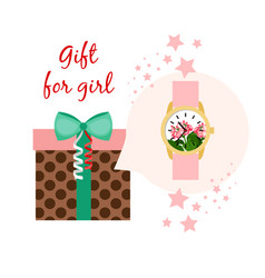 Watch gift for girl vector