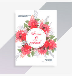 Wedding invitation card design with flower vector