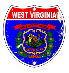 west virginia flag icons as interstate sign vector image