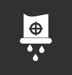 White icon on black background water pipe and vector