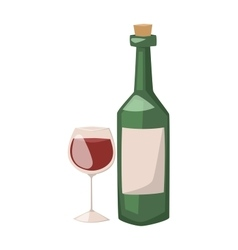 Wine bottle and glass of alcohol vector