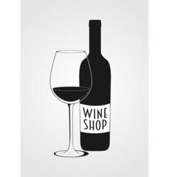 wine shop logotype including wine bottle wine vector image