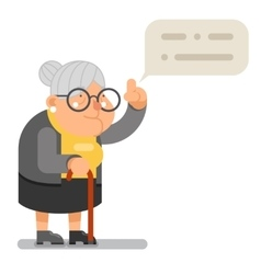 Wise Teacher Guidance Granny Old Lady Character vector