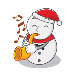 With trumpet snowman character cartoon style vector