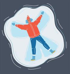 Woman making snow angel vector