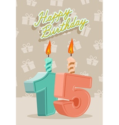 Birthday candle number 15 with flame vector image vector image