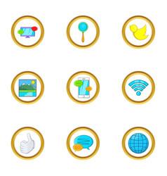 present communication icon set cartoon style vector image