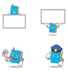 set of blue book character with megaphone police vector image vector image