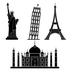 world landmarks statue of liberty eiffel tower vector image vector image