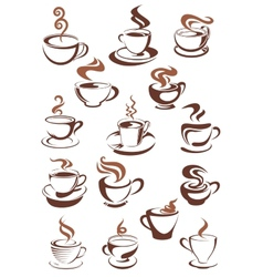 Brown cups of coffee cappuccino espresso latte or vector image vector image