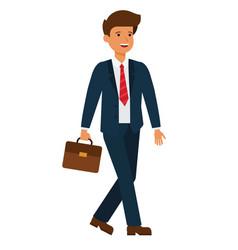 businessman going to work cartoon flat vector image