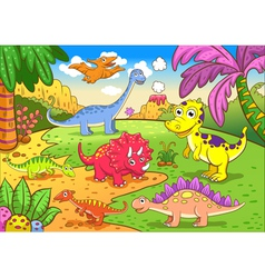 Cute dinosaurs in prehistoric scene vector image vector image