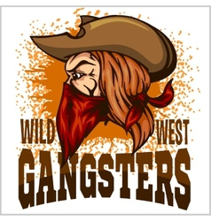 Gangster in retro scratch background vector image