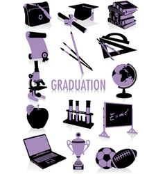 graduation silhouettes vector image vector image