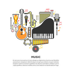 music instruments formed in heart with text vector image vector image