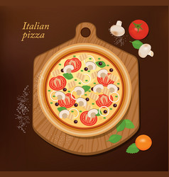 pizza on board and the ingredients for pizza vector image vector image