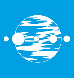 planet and moons icon white vector image vector image