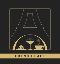 Traditional French kitchen mono line logo vector image vector image