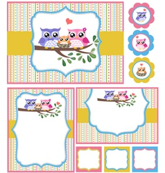 baby shower bird card set vector image vector image