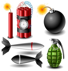 Bomb set vector image vector image