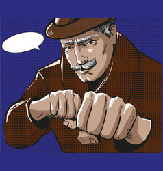 pop art of man with punching vector image vector image