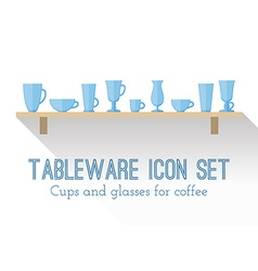Set of cups and glasses for coffee vector image vector image